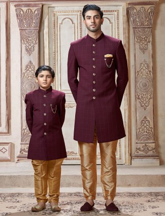 Maroon terry rayon checks father son Indo western