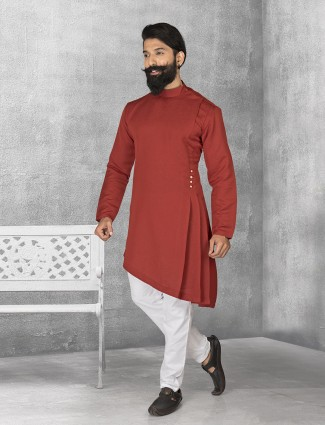 Maroon terry rayon plain kurta suit