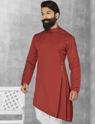 Maroon terry rayon plain short pathani