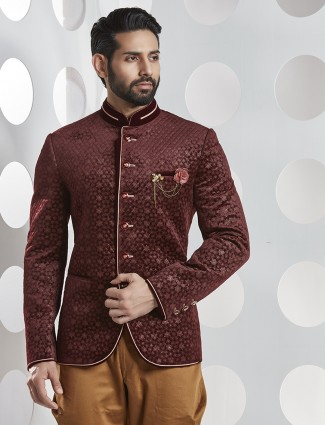 Maroon textured one piece jodhpuri suit