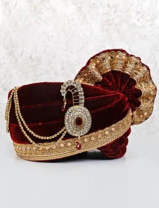 Maroon velvet turban for groom
