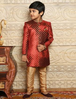 Maroon velvet wedding wear boys sherwani