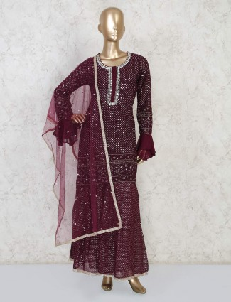 Maroon wedding designer punjabi sharara suit