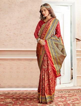 Maroon wedding embroidery banarasi silk saree