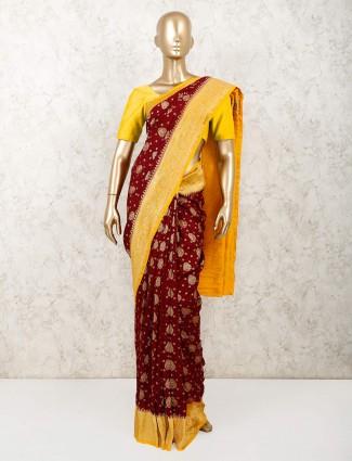 Maroon wedding saree design in muga silk