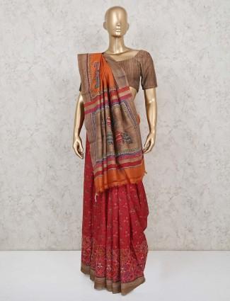 Maroon wedding wear classic handloom cotton saree