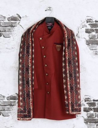 Maroon wedding wear indo western for boys