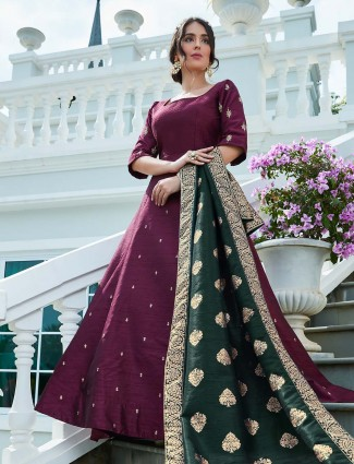 Maroon wine floor length anarkali suit in raw silk