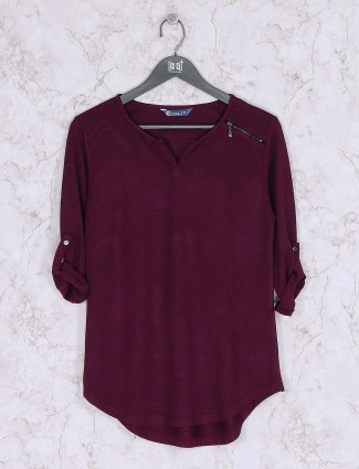 Maroon wine knitted casual top