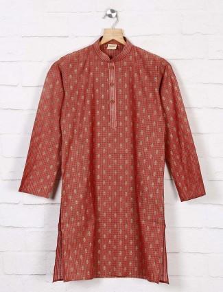 Maroon zari weaving kurta suit in cotton