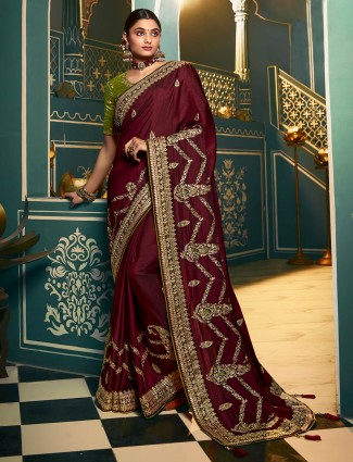 Marron cotton silk saree for wedding season