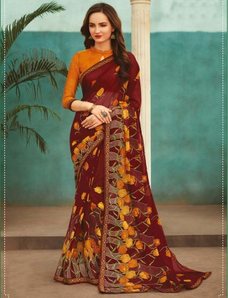 Marron georgette printed sare for festive