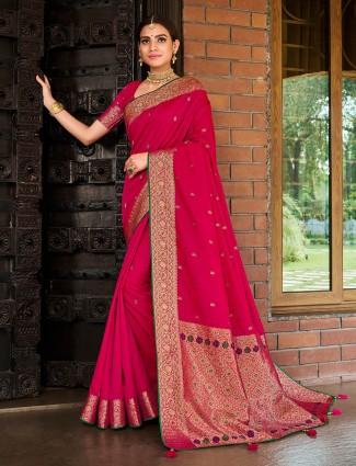 marvellous magenta semi silk saree for wedding occasions