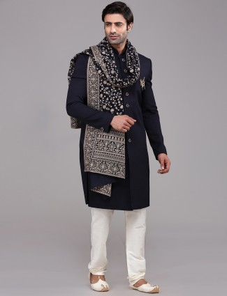 Marvellous navy terry rayon sherwani set