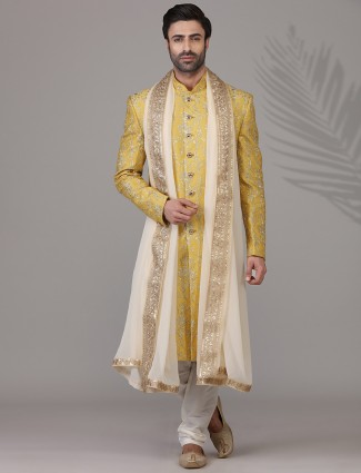 Marvellous yellow raw silk sherwani set