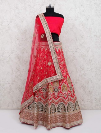 Megenta semi stitched choli in silk fabric