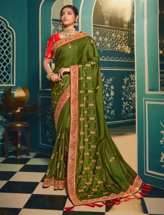 Mehandi green cotton silk saree