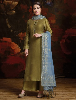 Mehendi green color silk palazzo suit