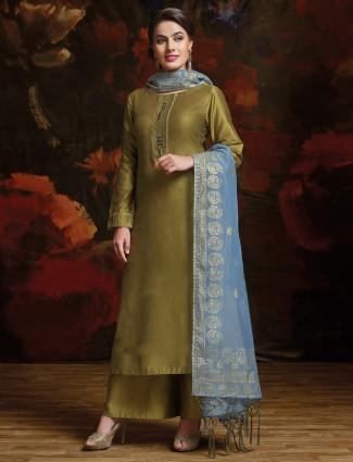 Mehendi green color silk pakistani palazzo suit