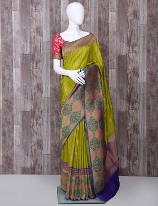 Mehendi green pure banarasi silk saree