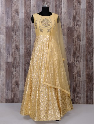 Mellow yellow color anarkali suit