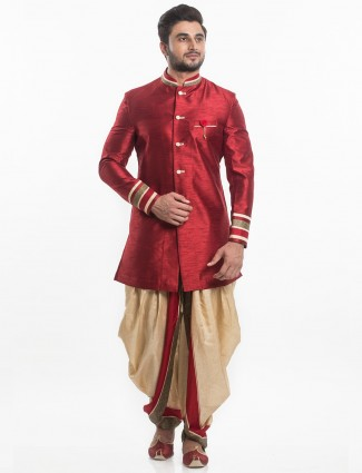 Men maroon raw silk indo western