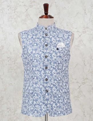 Men printed blue cotton waistcoat
