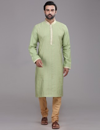 Pista green chanderi silk kurta suits