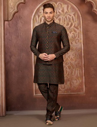 Mens green hue terry rayon fabric waistcoat set