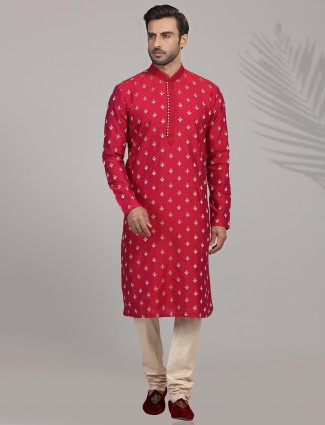 Mens indian kurta suits in red for festive