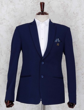 Mens solid blue terry rayon blazer