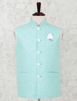 Mens solid sea green cotton waistcoat