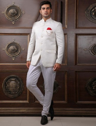Mens white colored terry rayon jodhpuri suit