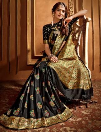 Midnight black banarasi silk saree