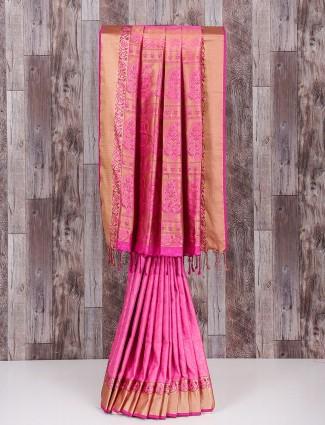 Mind Blowing pink silk saree