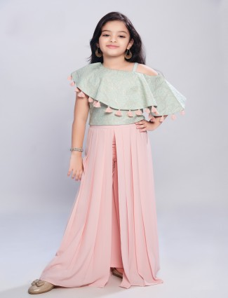 Mint green and pink hue georgette palazzo suit