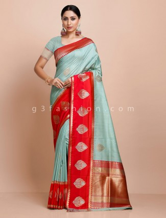 Mint green and red designer semi silk saree