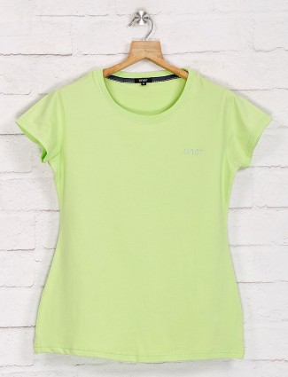 Mint green casual graphic print top in cotton