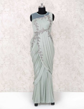 Mint green color exclusive party wear designer gown