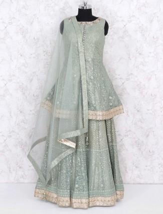 Mint green color georgette fabric lehenga choli
