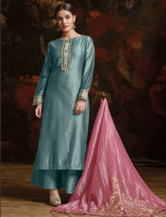 Mint green color silk palazzo suit