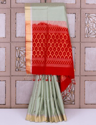 Mint green color silk saree for reception