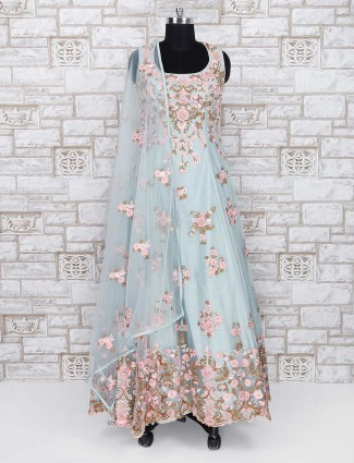 Mint green color wedding wear anarkali salwar suit