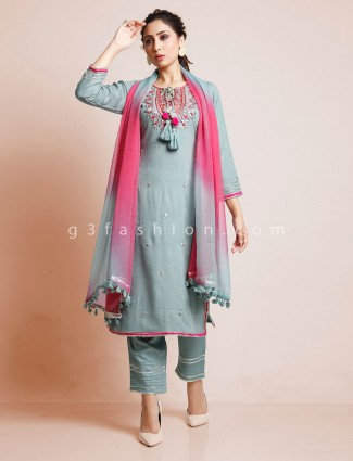 Mint green cotton pant suit in punajbi style