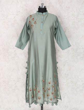 Mint green cotton silk fabric kurti