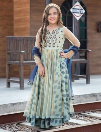 Mint green designer double layer salwar suit