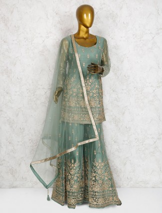 Mint green designer net punjabi sharara suit