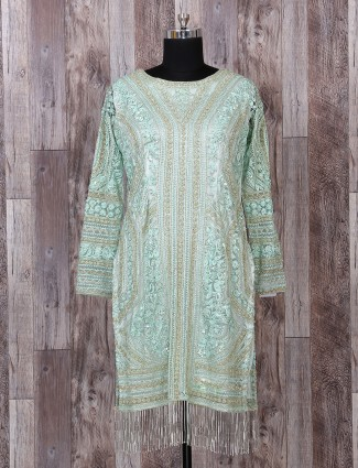 Mint green pakistani sharara style salwar suit