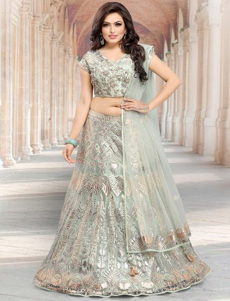 Mint green festive lehenga choli in net