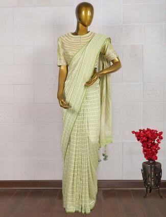 Mint green georgette designer saree